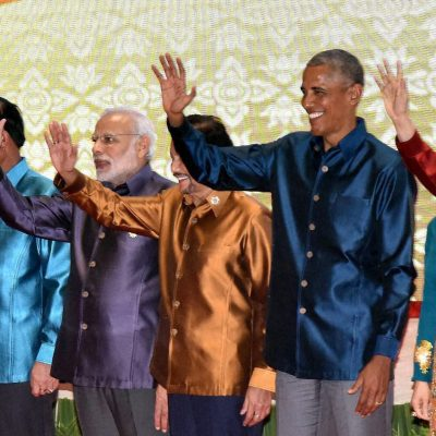 Vientiane: Prime Minister Narendra Modi with other leaders waves at the Gala Dinner at 28th and 29th ASEAN Summit in Vientiane, Laos on Wednesday. PTI Photo by Vijay Verma(PTI9_7_2016_000298A)