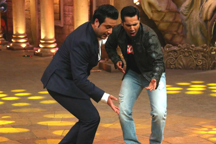 Varun Dhawan with Krushna Abhishek on Comedy Nights Bachaoo Colors TV image for InUth dot com