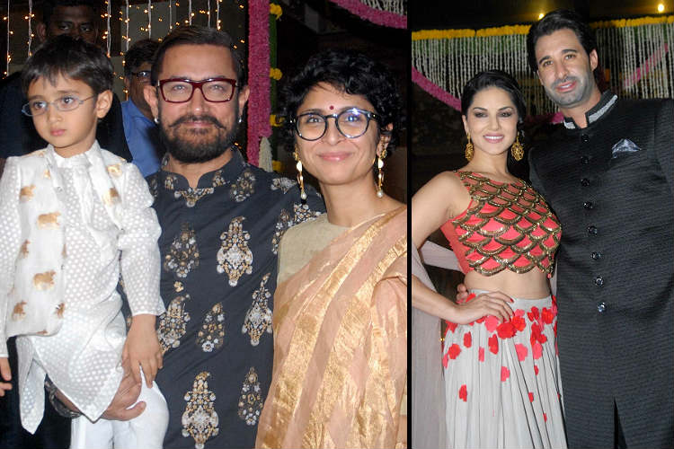 25 photos from Aamir Khan's Diwali party: Sunny Leone, Sachin Tendulkar attend thecelebrations