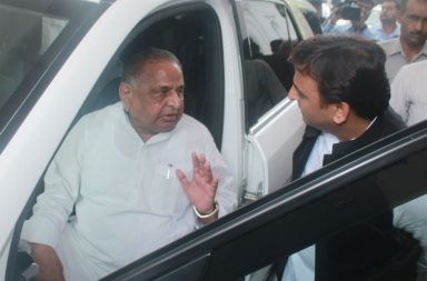 Samajwadi Party Supremo Mulayam Singh Yadav chatting with his son and UP CM Akhilesh Yadav (Photo: Express/ Vishal Srivastav)
