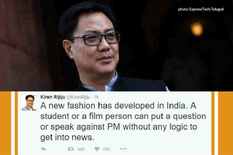 Questioning PM Modi without logic a fashion these days: Kiren Rijiu on Anurag Kashyap