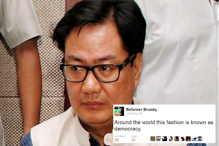 This man's response to Kiren Rijiju's tweet targeting Anurag Kashyap is winning the net today