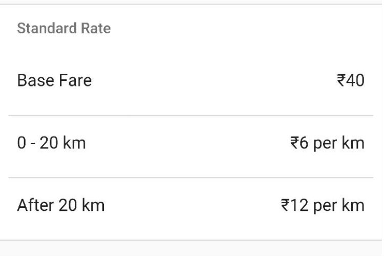 Ola Cab, Rate Card
