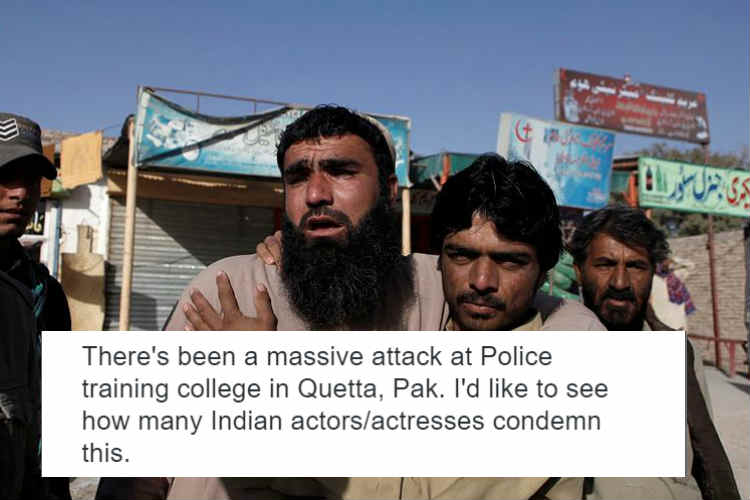 A journo asked if Indian actors will condemn Quetta attack. Twitter didn't spare him