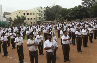 RSS volunteers have ditched khaki shorts for the brown trousers. (Photo: AP/Mahesh Kumar A)
