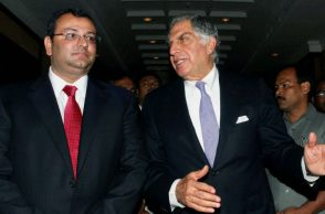 File photo of Ratan Tata (L) with Cyrus Mistry (Photo: PTI)