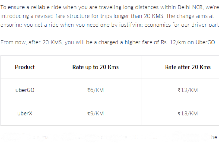 Uber Cabs, Rate Card