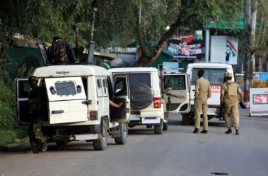 Security forces ooutside army base in Uri which was attacked by terrorists (Photo: Express/ Shuaib Masoodi)