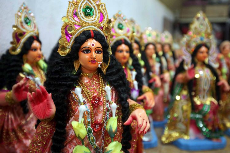 Idols of goddess Lakshmi lined up at Kumortuly (Photo: Express/ Partha Paul)