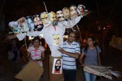 JNU activists burn Modi's effigy on Dussehra to celebrate 'victory oftruth'