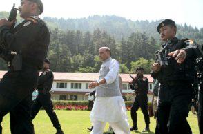Home Minister Rajnath Singh in Srinagar (Photo:Express/ Shuaib Masoodi)