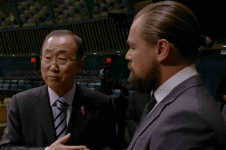 UN secretary general Ban ki-Moon with Leonardo di Caprio. (Photo: YouTube/National Geographic)