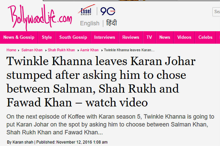 Bollywood Life Twinkle Khanna article screen shot for InUth.com