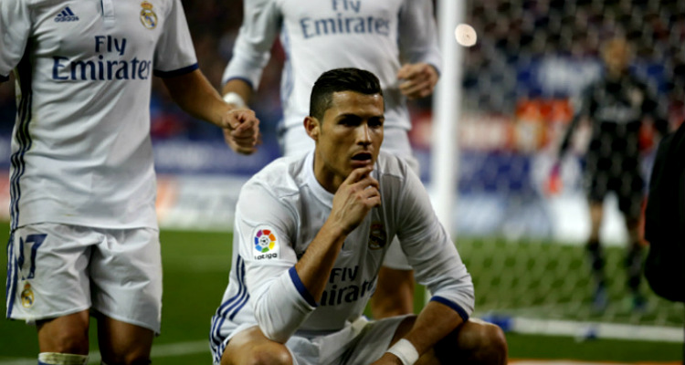 Cristiano Ronaldo, celebration, Real madrid, Atletico Madrid, Madrid derby
