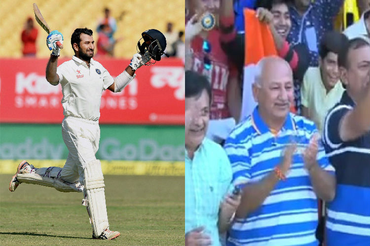 Cheteshwar Pujara receives standing ovation from proud father after hitting ton