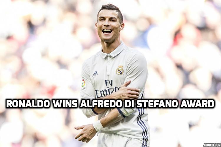 Cristiano Ronaldo celebrates £365,000-a-week deal with Alfredo Di Stefanoaward