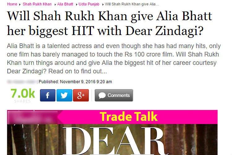 Dear Zindagi article screen shot for InUth.com