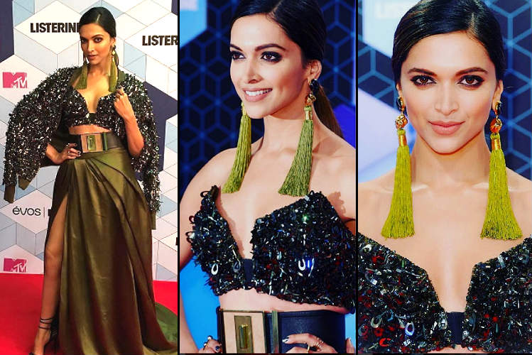 Deepika Padukone in a risky Monisha Jaising gown at MTV EMA is sexy gone classy. Haters, shut up!