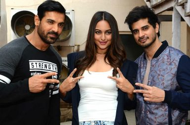 John Abraham, Sonakshin Sinha and Tahir Raj Bhasin promoting Force 2 IANS photo for InUth.com
