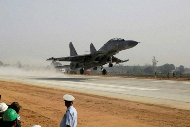 Four Mirage 2000s and four Sukhois of the IAF made a landing on the expressway on Monday (Photo: PTI)