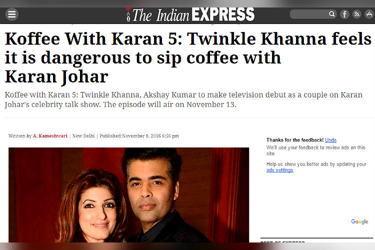 Indian Express article about Koffee With Karan screen shot for InUth.com