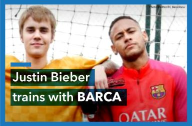 Justin Bieber, Barcelona, football