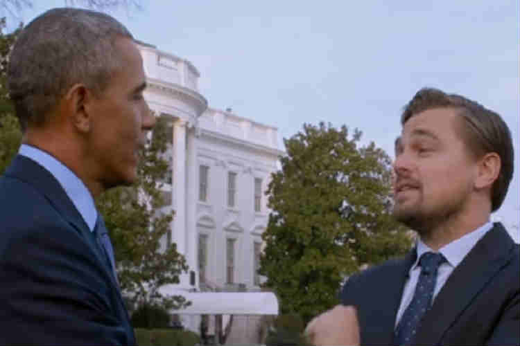 US President Barack Obama with Leonardo di Caprio. (Photo: YouTube/National Geographic)