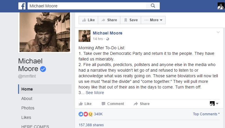A screenshot of Michael Moore's Facebook post. (Photo: Facebook/Michael Moore)