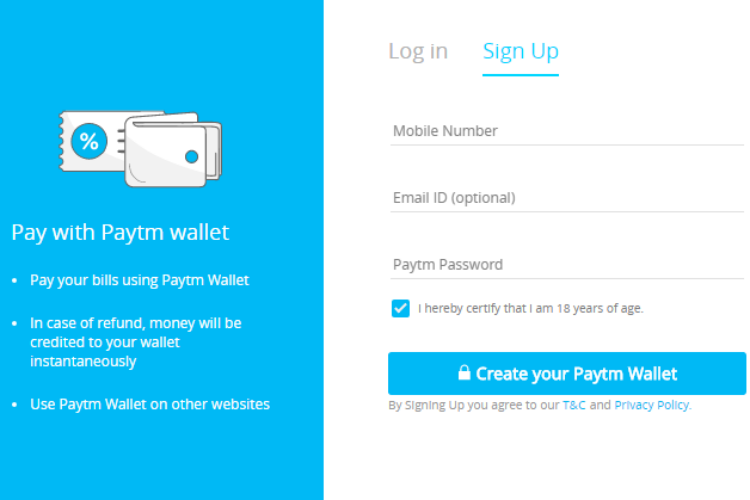 Paytm, Sign-in
