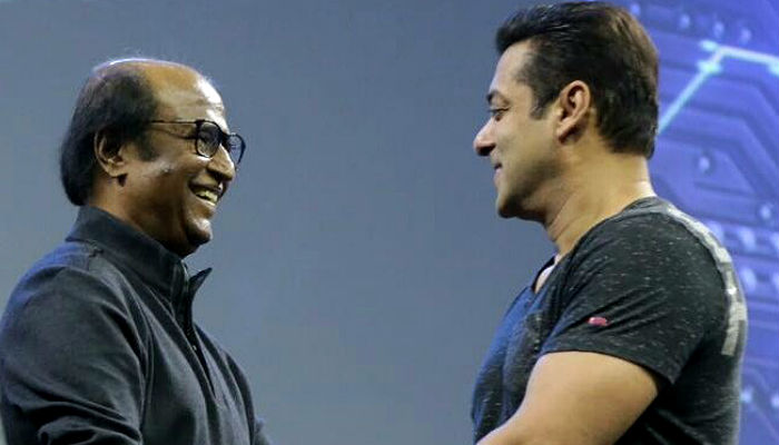 Rajinikanth and Salman Khan at 2.0 launch Twitter photo for InUth.com
