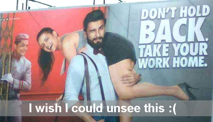 Ranveer Singh's Jack & jones sexist ad screen shot