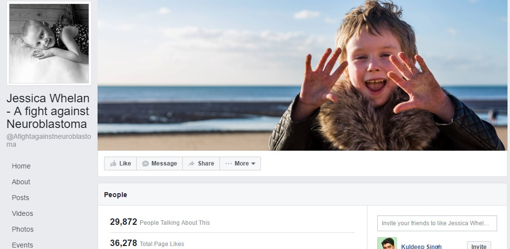 A screenshot of Jessica Welhan- A fight against Neuroblastoma Facebook page.