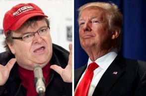 Michael Moore (left) and Donald Trump. (Photo: Reuters)