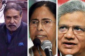 (L-R) Anand Sharma, Mamata Banerjee and Sitaram Yechury.