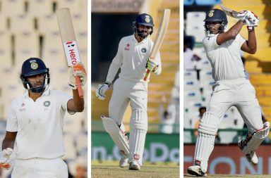 (L-R): Ravichandran Ashwin, Ravindra Jadeja and Jayant Yadav shone with the bat. (Photos: PTI)