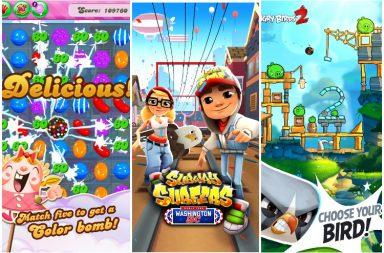 Candy Crush Saga, Subway Surfer, Angry Birds