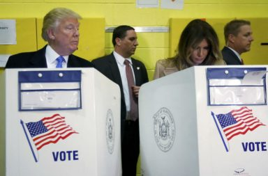 Republican presidential nominee Donald Trump and his wife Melania Trump vote at PS 59 in New York (Reuters)