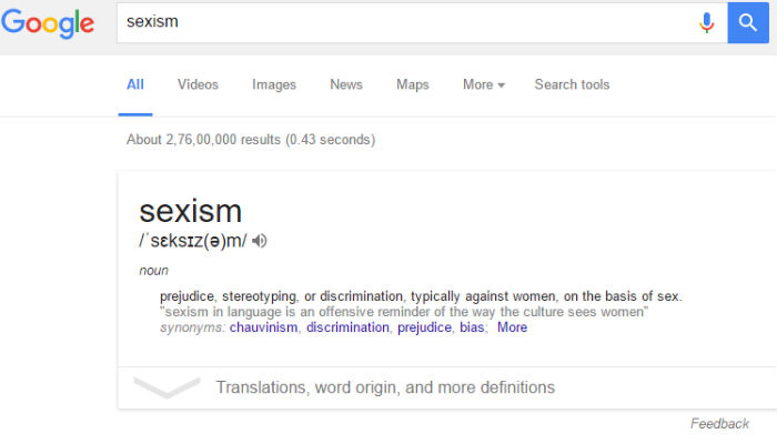 Google's definition of sexism screen shot
