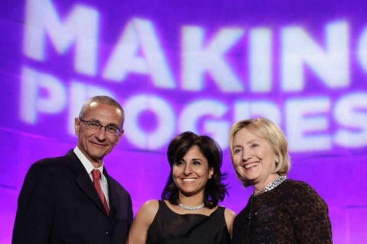 Hillary Clinton (R) with President of the Center for American Progress Neera Tanden and CAP founder John Podesta Washington DC (File Photo: Reuters)