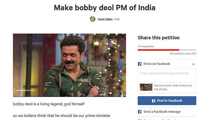 Bobby Deol Change dot org petition screen shot