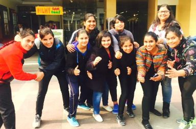 InUth with women wrestlers for Dangal