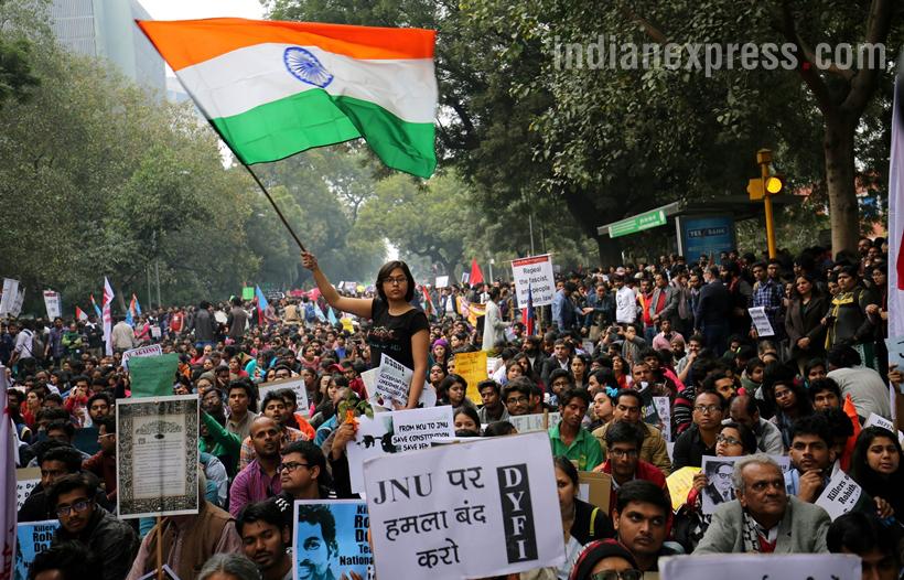 JNU students taking part in a protest against arrest of JNUSU president Kanhaiya Kumar at Jantar Mantar in New Delhi on Feb 18th 2016. Express photo by Ravi Kanojia.