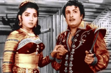 Photo: Jayalalithaa and MGR in the film Ayurathil Oruvan, or 'One in a Thousand'.