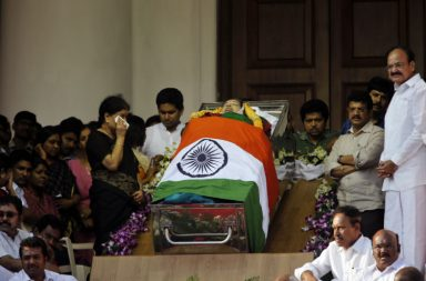Jayalalithaa's close aide Sasikala Natarajan wipes her tears (AP Photo/Aijaz Rahi)
