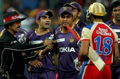 Gautam Gambhir got involved in a heated argument with Virat Kohli (jersey no. 18) during IPL 2013. (Photo: Quora)