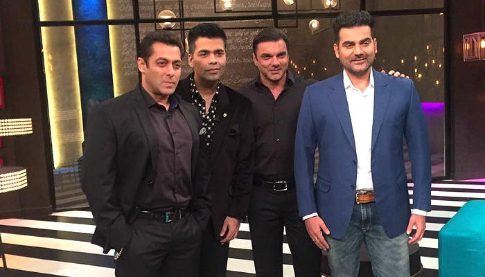 Salman Khan gives a midnight surprise. The Khan brothers have Koffee With Karan