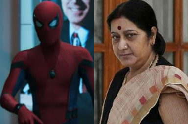 Sushma Swaraj and Spiderman