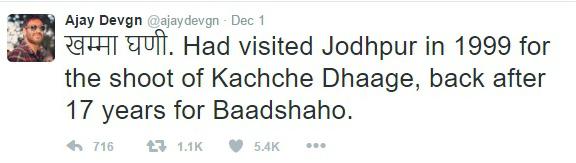 Ajay Devgn Tweet|