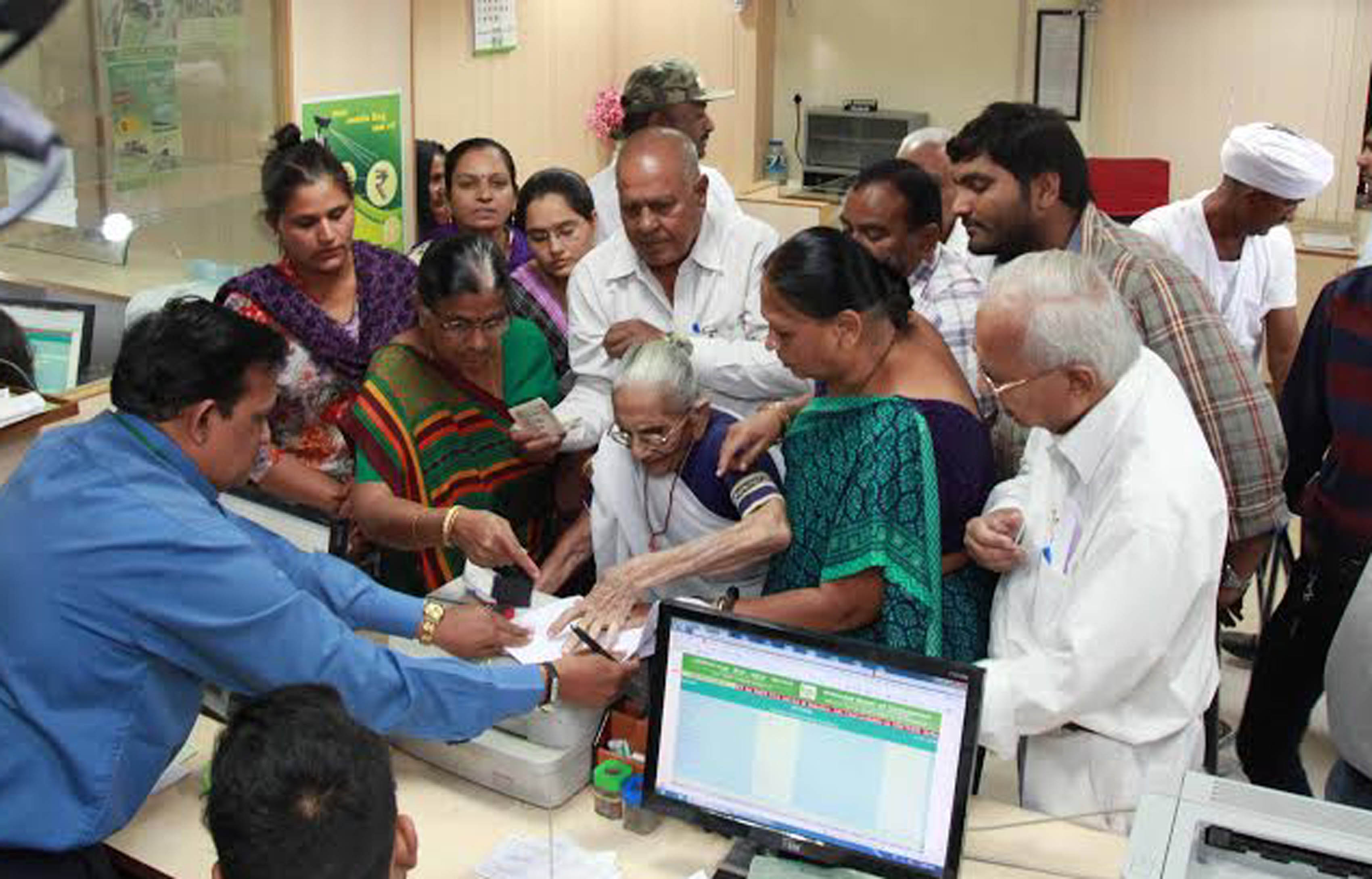 Hiraba, Prime Minister Narendra Modi's mother, went to the bank to exchange the demonetized currency at Raysan near Gandhinagar. Express Photo by Javed Raja. 15.11.2016.