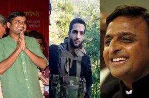 (L) Kanhaiya Kumar; (Centre) Burhan Wani; (R) Akhilesh Yadav